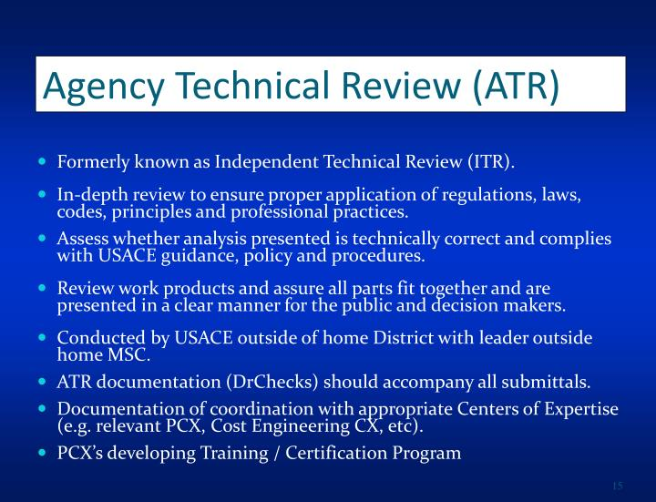 Agency Technical Review (ATR)