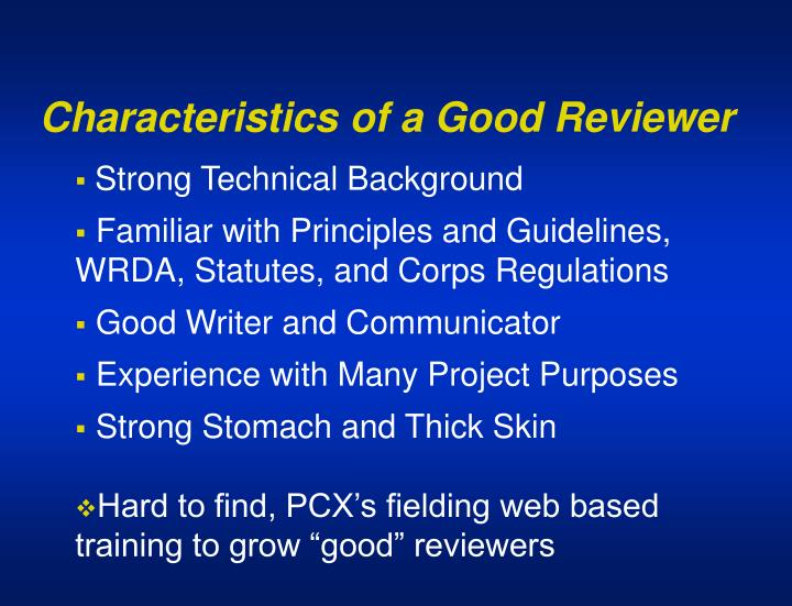 Characteristics of a Good Reviewer