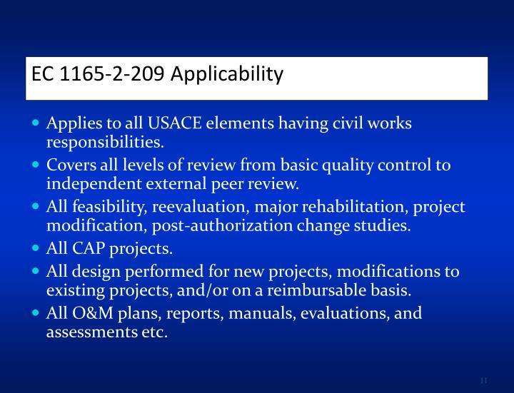 EC 1165-2-209 Applicability