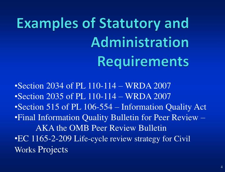 Examples of Statutory and Administration Requirements