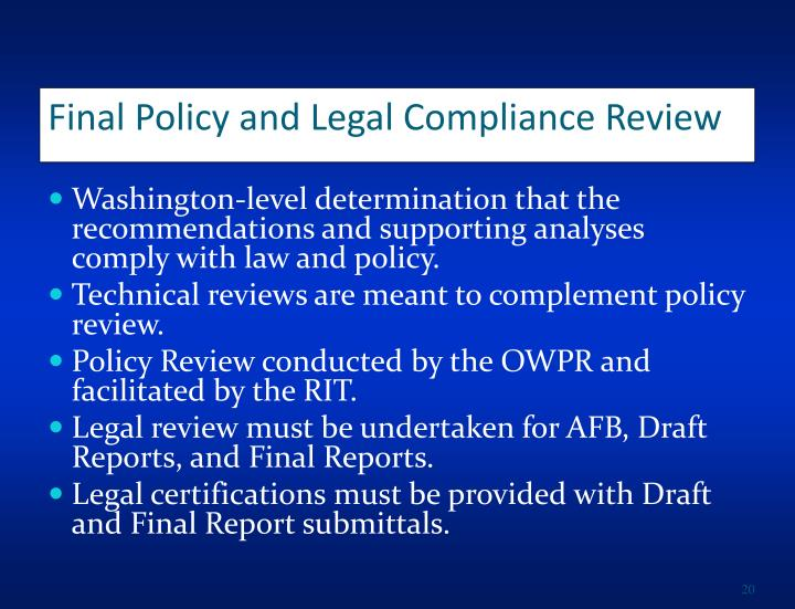 Final Policy and Legal Compliance Review