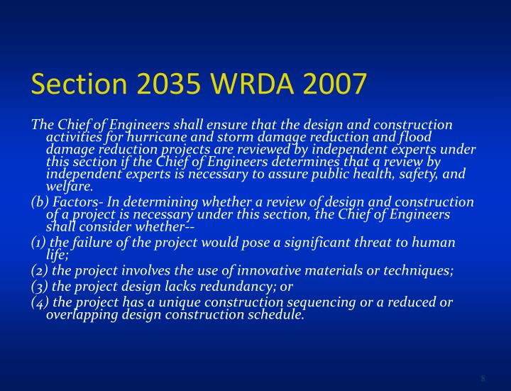 Section 2035 WRDA 2007