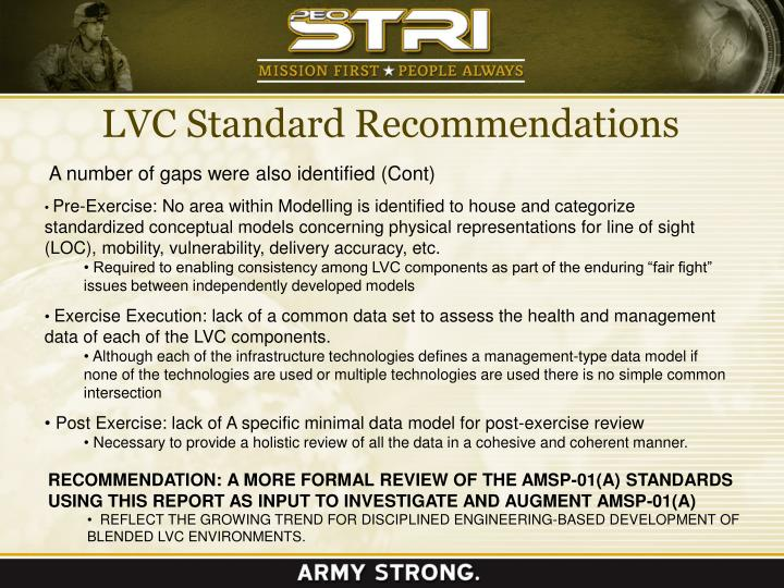 LVC Standard Recommendations