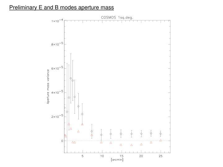 Preliminary E and B modes aperture mass