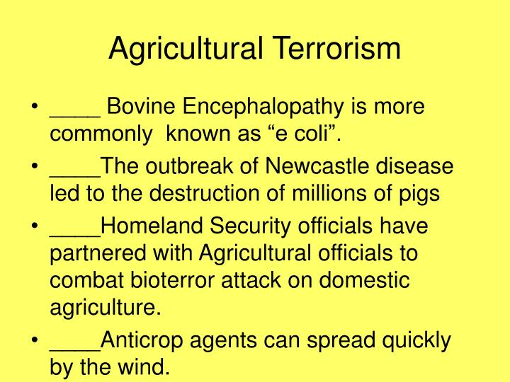 Agricultural Terrorism