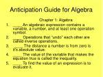 anticipation guide for algebra