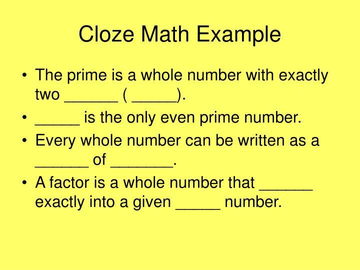 Cloze Math Example