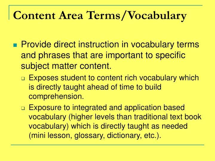 Content Area Terms/Vocabulary