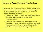 content area terms vocabulary