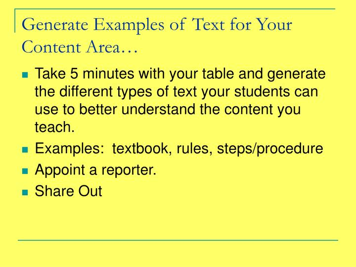 Generate Examples of Text for Your Content Area…