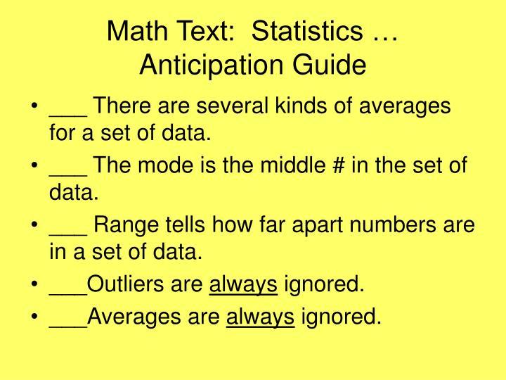 Math Text:  Statistics …