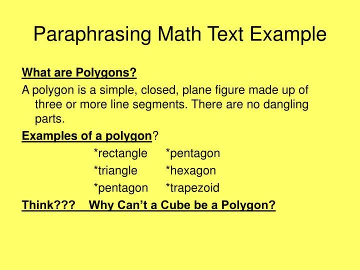 Paraphrasing Math Text Example