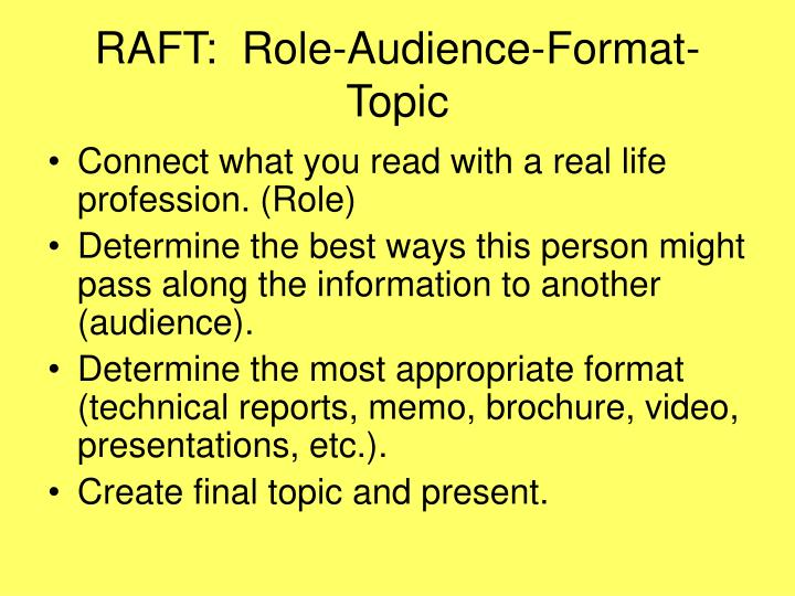 RAFT:  Role-Audience-Format- Topic