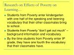 research on effects of poverty on learning