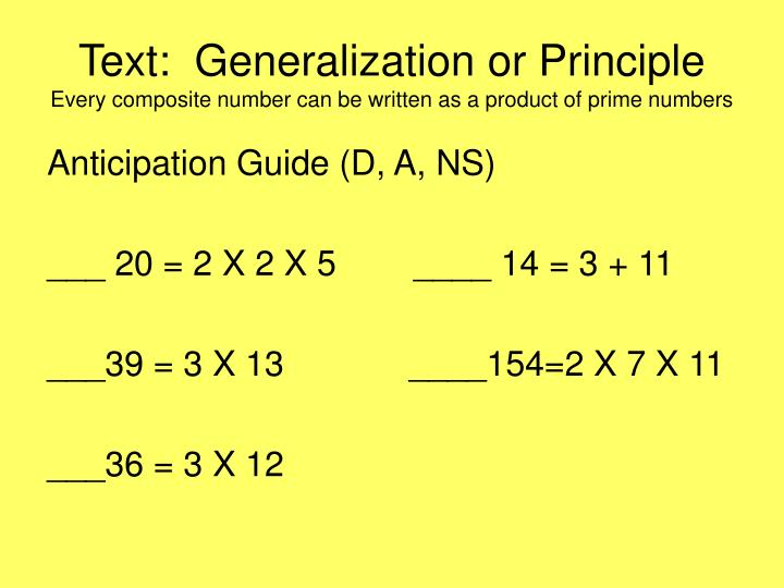 Text:  Generalization or Principle