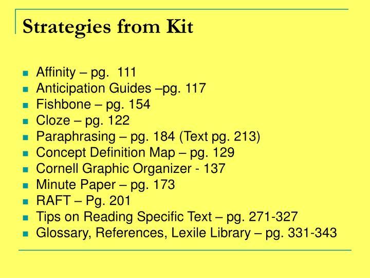 Strategies from Kit