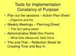 tools for implementation constancy of purpose