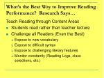 what s the best way to improve reading performance research says
