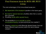 final statement about the bcr abl ruo testing