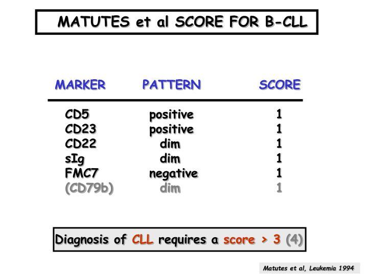 MATUTES et al SCORE FOR B-CLL