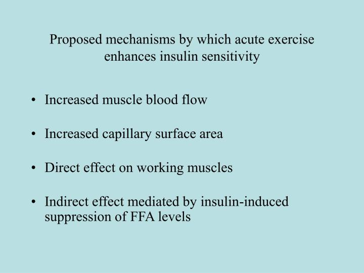 Proposed mechanisms by which acute exercise enhances insulin sensitivity