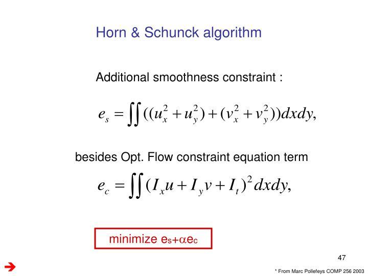 Horn & Schunck algorithm