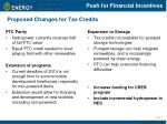 proposed changes for tax credits
