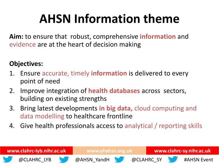 AHSN Information theme