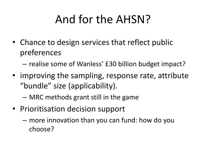 And for the AHSN?