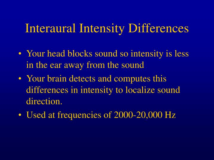 Interaural Intensity Differences