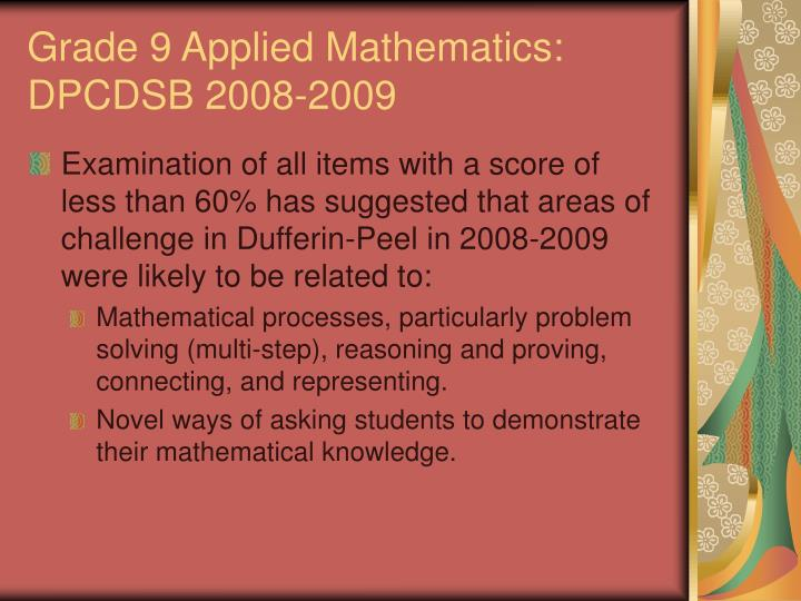 Grade 9 Applied Mathematics: