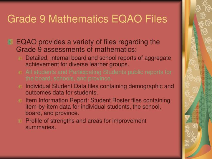 Grade 9 mathematics eqao files