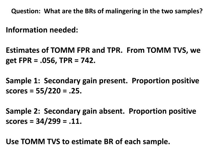 Question:  What are the BRs of malingering in the two samples?
