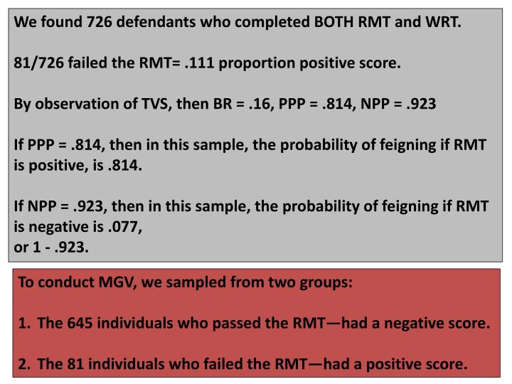 We found 726 defendants who completed BOTH RMT and WRT.