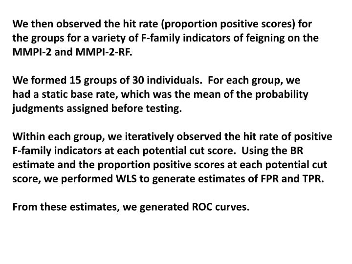 We then observed the hit rate (proportion positive scores) for
