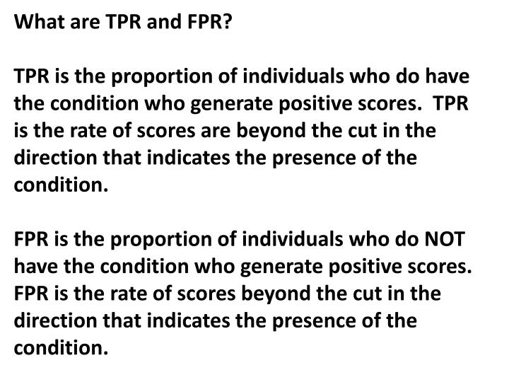 What are TPR and FPR?