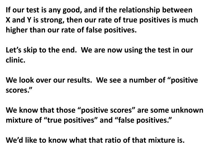 If our test is any good, and if the relationship between