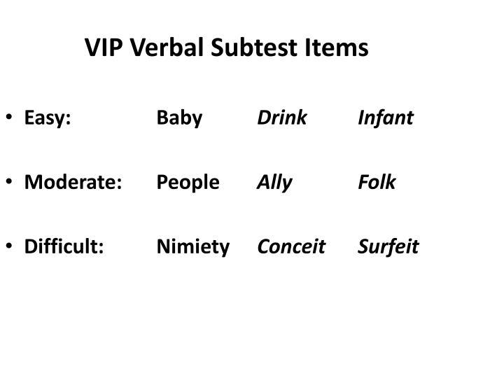 VIP Verbal Subtest Items