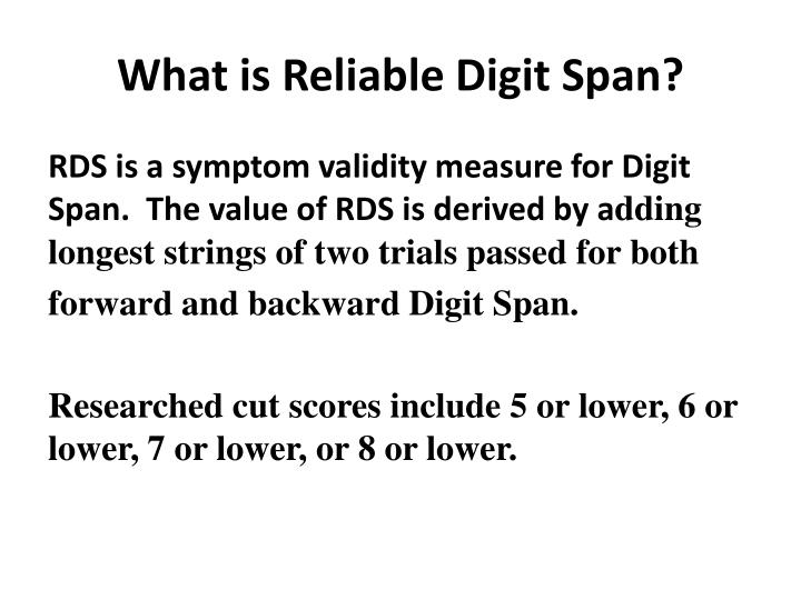 What is Reliable Digit Span?