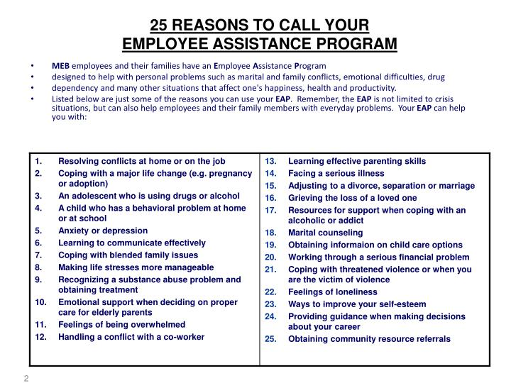 25 reasons to call your employee assistance program