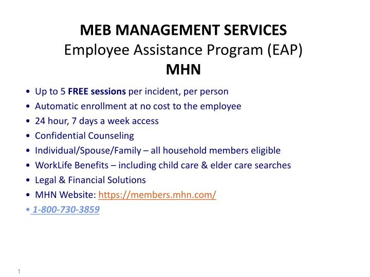 Meb management services employee assistance program eap mhn