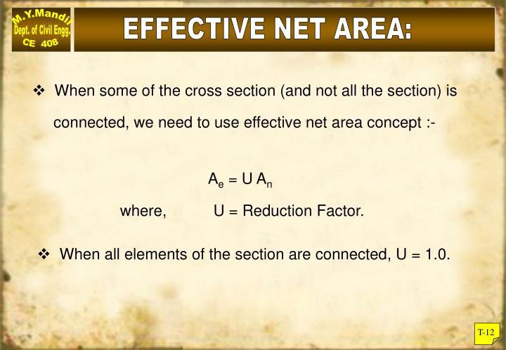 EFFECTIVE NET AREA: