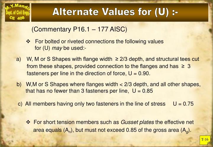 Alternate Values for (U) :-