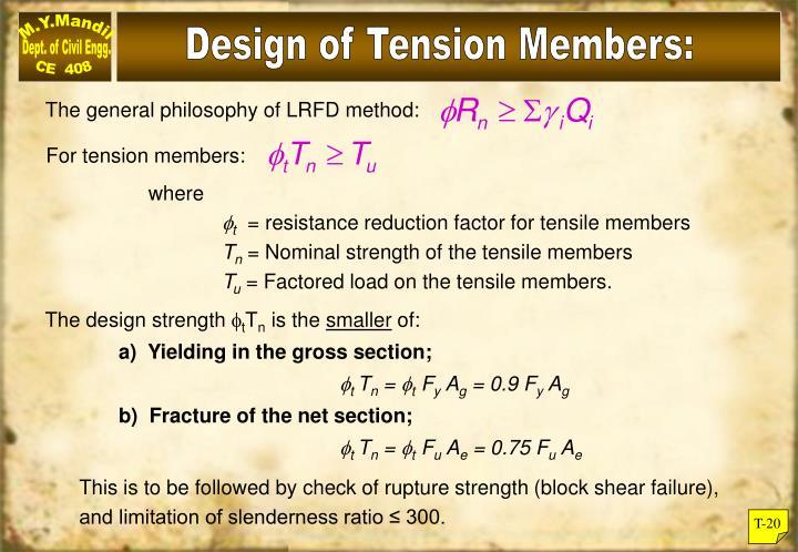 Design of Tension Members:
