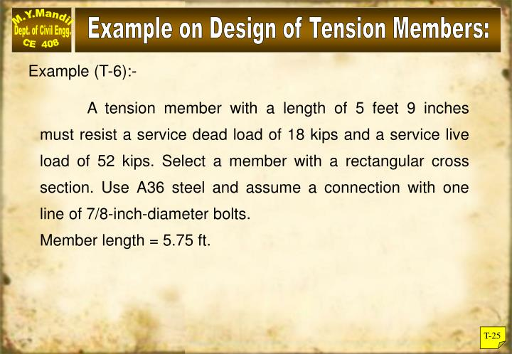 Example on Design of Tension Members: