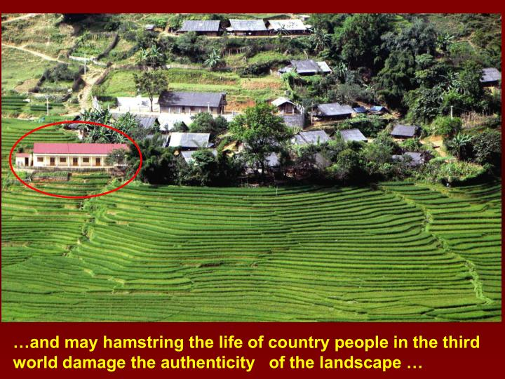 …and may hamstring the life of country people in the third world damage the authenticity   of the landscape …