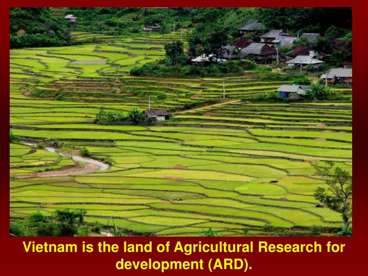 Vietnam is the land of Agricultural Research for development (ARD).