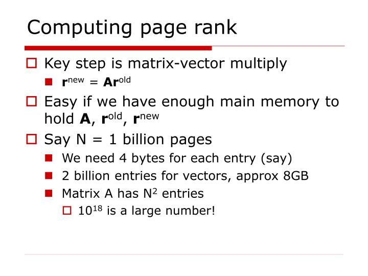 Computing page rank