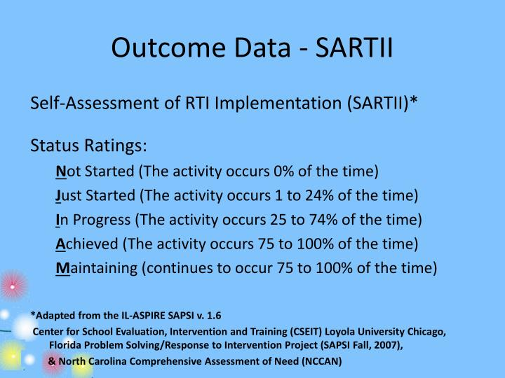 Outcome Data - SARTII