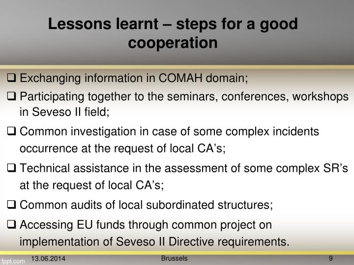 Lessons learnt – steps for a good cooperation